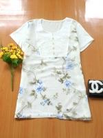 ขายส่ง:เสื้อผ้าแก้วลายกุหลายหวานๆมีซับในตัว/อก38