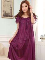 ชุดนอนไซส์ใหญ่ ผ้ามันลื่น สีม่วงเข้ม (L,XL,2XL,3XL,4XL)