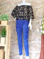 ขายส่ง:งานจีนเช็ท2ชิ้น/เสื้อคอปาดพริ้วๆ+กางเกงลูกฟูกนิ่มใส่สบาย