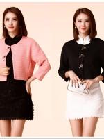 Set 2 ชิ้น ชุดเซ็ท เสื้อคลุม+ชุดเดรสกี่เพ้า [เสื้อคลุมดำ+เดรสขาว/เสื้อคลุมชมพูอมส้ม+เดรสดำ] (XL,2XL,3XL)