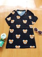 ขายส่ง:งานจีนเสื้อคอวีลายหมีน่ารักทรงใส่สบาย/อก39