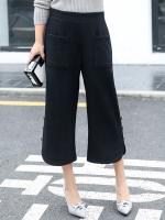 กางเกงสีดำขาสี่ส่วนปลายขากว้างไซส์ใหญ่ (XL,2XL,3XL,4XL,5XL)