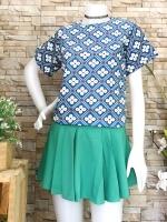 ส่ง:เช็ท2ชิ้นงานจีน/เสื้อลายดอกสดใส+กระโปรงด้านในกางเกง