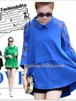[พร้อมส่งสีน้ำเงิน เขียว] (สาวอวบใส่ได้ไซส์ L - 4XL 590-650฿) ATA385 ใหม่! เสื้อดีไซน์เก๋หรูหรา หน้าสั้นหลังยาว แขนแต่งผ้าซีทรูลายผ้าเก๋ #430