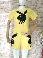 ขายส่ง:จั๊มสูทเหลืองสดใสสกรีนกระต่ายเพลบอยเก๋ๆ/อก34