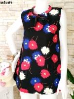 ขายส่ง:พร้อมส่งเสื้อยาวลายดอกสดใสคอผูกโบว์ทรงใส่สบาย/อก37/หลังดำ