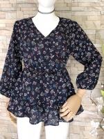 ขายส่ง:เสื้อยาวลายดอกสดใสสม็อกเอวต่อปลายระบายพริ้วๆน่ารัก/อก38