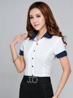 เสื้อเชิ๊ตทำงานแขนสั้นสีขาว ปกและแขนสีน้ำเงิน
