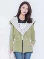 เสื้อคลุมแจ๊คเก็ตไซส์ใหญ่ มีฮู้ด เอวรูด สีเขียว (XL,2XL,3XL,4XL,5XL)