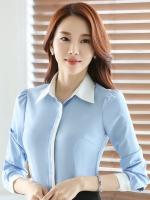 เสื้อเชิ้ตทำงานผู้หญิงแขนยาว สีฟ้า ปกสีขาว เป็นชุดยูนิฟอร์มได้