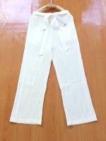 ขายส่ง:งานจีนกางเกงอัดพรีทต่อสายผูกเอว2ข้าง/สม็อกเอวยืดได้22-32