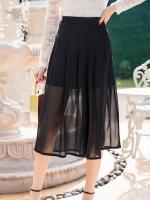 กางเกงชีฟองขาสี่ส่วนสีดำ มีซิปด้านข้าง ด้านในเป็นกางเกงขาสั้นสีดำ (M,L,XL,2XL,3XL,4XL)