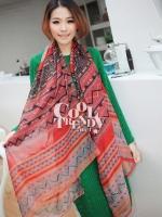 ผ้าพันคอลายชาวเขา Hmong Scarf Tribal Aztec : สีแดง - ผ้า viscose - size 180x90 cm