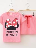 ชุดเสื้อสกรินลายโบว์ MINNIE + กระโปรงสีชมพู