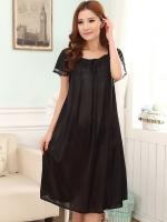 ชุดนอนไซส์ใหญ่ ผ้ามันลื่น สีดำ (L,XL,2XL,3XL,4XL)