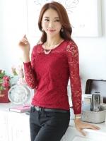 เสื้อแขนยาวแฟชั่นผ้าลูกไม้สวยน่ารัก สีแดง เกรด B