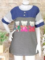 ขายส่ง:เสื้อยาวลายริ้วต่อยีนส์แต่งปักหมีน่ารักทรงใส่สบาย/อก39