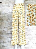 โปรขายครบสี2สี:กางเกงลายดอกขาตรงผ้าพริ้วทรงใส่พริ้ว/เอวยืด24-36