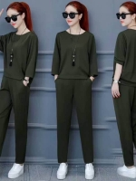 ส่ง:งานจีน2ชิ้นแบบเก๋ๆ/เสื้อทรงค้างคาวอก46+กางเกงเอวยืด25-42