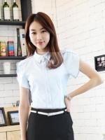 เสื้อเชิ้ตทำงานผู้หญิงแขนสั้น สีขาว