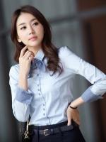 เสื้อเชิ้ตทำงานผู้หญิงแขนยาว สีฟ้า แบบเรียบๆ