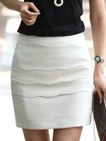 กระโปรงสั้นสีขาว เรียบๆดูดี สำหรับสาวออฟฟิต
