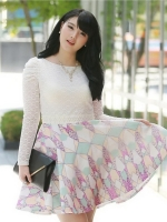 ชุดเดรสแฟชั่นเกาหลีไซส์ใหญ่ เสื้อลูกไม้ติดไข่มุก กระโปรงผ้าร่มพิมพ์ลาย สีฟ้า (L,XL,4XL,5XL)