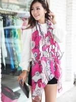 ผ้าพันคอแฟชั่นลายโซ่ Chiffon Coach : สีชมพูเข้ม : ผ้าพันคอ Silk Chiffon 160x60 cm
