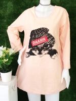 ขายส่ง:เดรสผ้าป่านแต่งพิมพ์แมวแบบน่ารักทรงปล่อยใส่สบาย/อก40/ส้มอ่อน