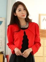 เสื้อคลุมสั้นไซส์ใหญ่แขนยาว สีแดง/สีดำ (XL,2XL,3XL)