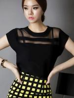พร้อมส่งแฟชั่นเกาหลี:เสื้อเก๋ต่อผ้าแก้วแต่งผ้าสีดำคาดทับอีกเส้น