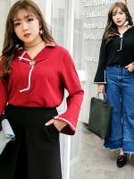 เสื้อชีฟองปกสูท แขนกระดิ่ง สีดำ/สีแดง (XL,2XL,3XL,4XL)