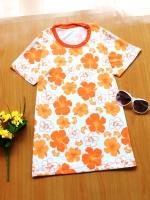 ขายส่ง:เสื้อยืดคอกลมสดใสลายดอก/อก33-34/ส้ม