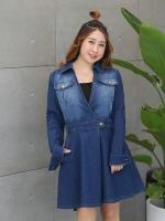 ชุดเดรสยีนส์สีน้ำเงิน คอวี แขนยาว กระโปรงทรงเอ (XL,2XL,3XL,4XL)