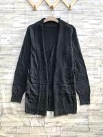 ส่ง:เสื้อคลุมคาร์ดิแกนknitทรงปล่อยตัวยาวมีเป๋า2ข้าง/อก40+/ดำ