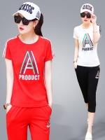 ชุดกีฬาไซส์ใหญ่ เสื้อยืดแขนสั้น+กางเกงสามส่วน สีขาว/สีดำ/สีแดง (4XL,5XL,6XL)