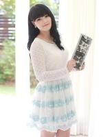 ชุดเดรสผ้าลูกไม้ ตัดต่อผ้าสวยงาม สีฟ้า (L,XL,4XL,5XL)