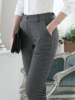 กางเกงทำงานขายาวเรียบๆ สีเทาดำ ขากระบอกเล็ก