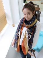 ผ้าพันคอลายทาง Strip Zigzag scarf : ผ้าพันคอ Viscose - size 180*80 cm - สีน้ำเงิน