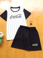 ขายส่ง:พร้อมส่งเช็ท2ชิ้นน่ารักแต่งสกีนโคคาโคล่า/เสื้อ+กางเกง/กรม