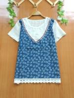 ขายส่ง:เสื้อ2ชั้นหลอกติดกันแต่งต่อผ้ายีนส์ลายดอกแบบน่ารัก/อก37