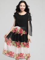 ชุดเดรสชีฟอง กระโปรงลายดอกไม้ ไซส์ใหญ่ สีดำ (XL,2XL,3XL,4XL)