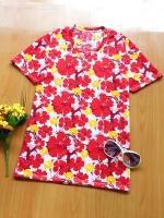 ขายส่ง:เสื้อยืดคอวีสดใสลายดอก/อก35/แดง