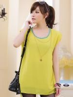 เสื้อชีฟองชายรูด สีเหลือง พร้อมสายสร้อย ไซส์ XL 2XL 3XL