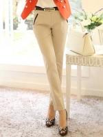 กางเกงทำงานผู้หญิงขายาว สีครีม ขอบกระเป๋าดำ ผ้าใส่สบาย