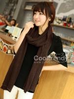 ผ้าพันคอไหมพรม ผ้า cashmere scarf size 180x30 cm - สี brown