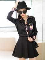 เสื้อเชิ้ตชีฟองสีดำ ปกเชิ้ตลายดอก แขนยาว ปลายแขนลายดอก (XL,2XL)