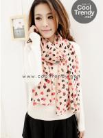 ผ้าพันคอแฟชั่นลายหัวใจ Little Heart สีชมพู ผ้าพันคอชีฟอง 140 x 60 cm