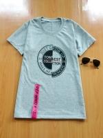 ขายส่ง:เสื้อยืดคอกลมสกีนเก๋ๆแต่งห้อยสายริบบิ้นoff-white/อก34-35