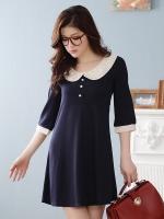 เดรสผ้ายืด ปกบัวซ้อนผ้าลูกไม้ สีน้ำเงิน (XL,2XL)